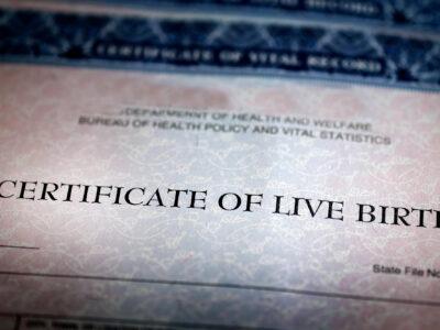 Closeup of Birth Certificate